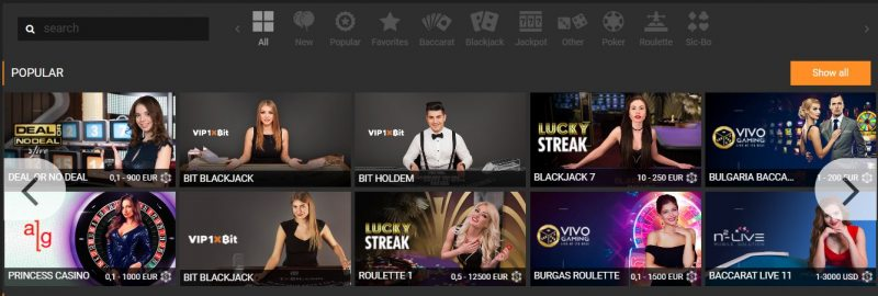 Casinos and More Games Available from 1xBit Dashboard - Live Casino