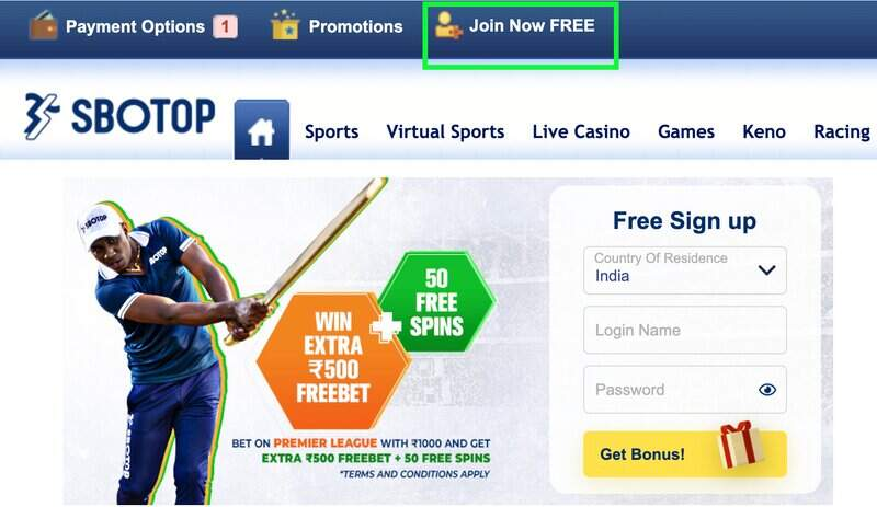 Join the Best Online Gambling Site in India- Register to Sbotop Today