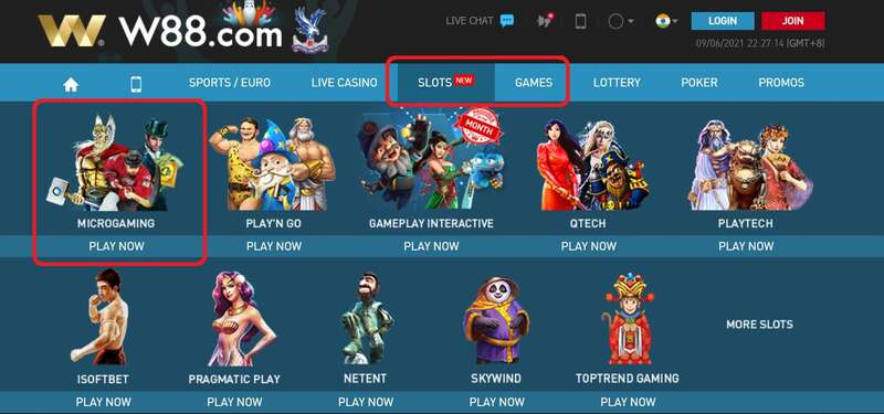 Offered Games in Microgaming W88 Review - Slots and Games